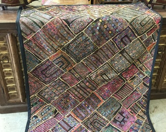 Antique Vintage Original Zardozi Beaded Hand Crafted Tapestry RUG colorful Embroidered  Boho Wall Hanging Decor FREE SHIP