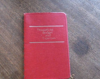 1970s Vintage Household Budget & Expenses Ledger/Financial Record Keeper; Red Leatherette Cover/Rare