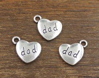 20pcs Dad Heart Charms Antique Silver Tone Double Side 15x18mm - SH453