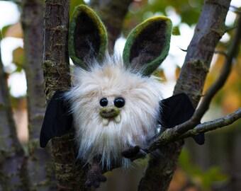CRISPIN - Plush Bat, OOAK Bat Soft Sculpture, Fibre Art, Plush, Needle felting, Halloween Plush