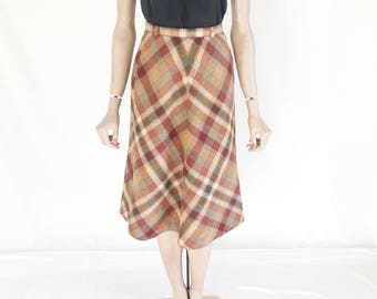 Vintage 70's Plaid Wool Skirt. Size X Small