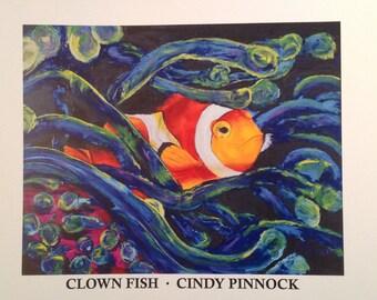 Clown fish orange white nemo fish tropical fish original painting oil fish art anemone aquarium fish coral reef art ocean life sea fish art