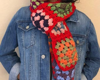 100% handmade granny square scarf - Scarlet Red (ready to ship)