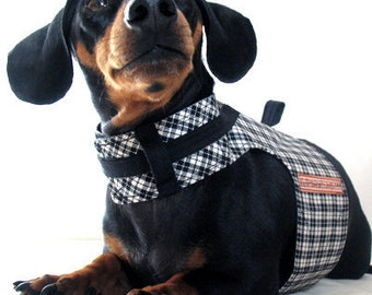 Eco Dog Harness - Renewable Black Plaid Cotton - Large