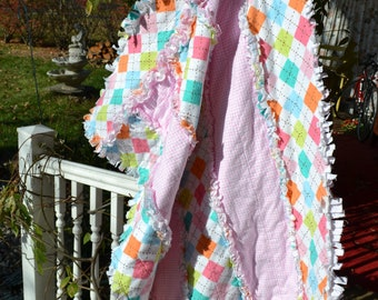 Flannel Rag Quilt Pink and Argyle Crib Size Girl Baby Quilt Bedding