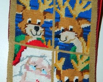 Santa & Reindeer Needlepoint Stocking, Santa, Christmas Stocking, Sock, Fireplace Stocking, Rudolph Stocking, Reindeer Stocking