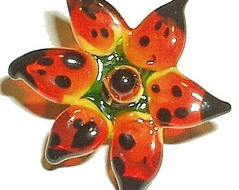 FLOWER TUTORIAL, Handmade Lampwork glass bead tutorial instructions. Glass Flower Bead, lily, star, orchid, aster, iris