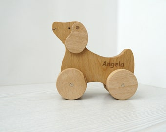 Wooden dog, Wooden animals on wheels - Wooden Toys -  Gift for kids, Eco friendly toy.