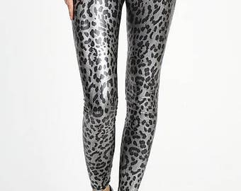 Metallic Cheetah Print Leggings