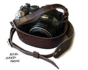 Custom Gift Personalized Leather Camera Strap Leather Name Photographer Gift Birthday Brown Camera Strap Leather Gift Her Him