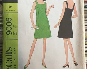 McCalls Vintage 1960s Sewing Pattern  / Retro Misses and Juniors Simple A-Line Dress / Size 10 / 9006