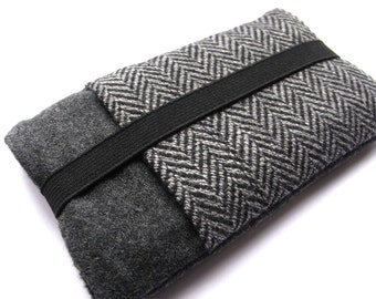 iphone 7 6 Case  Samsung Galaxy S6  Fabric Cover  HTC  - Gray Wool Sleeve