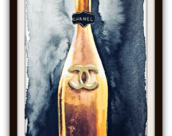 Champagne Poster, Coco Chanel, Bar Cart Art Decor, Fashion Watercolor, Champagne Poster, Inspirational Art, Party Decor,