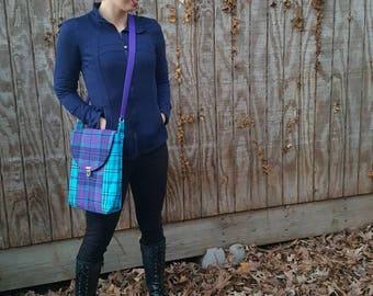 Purple & Teal Crossbody handbag,tablet purse, messenger bag,travel purse, adjustable strap shoulder bag,deep pocket,flannel plaid handbag