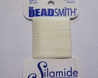 Natural Silamide Two Ply Nylon Waxed Beading Thread Size A 40 yards