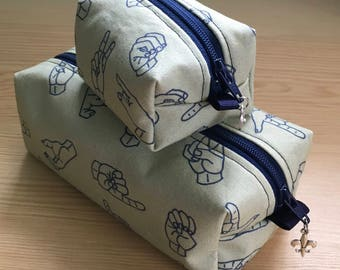 American Sign Language (ASL) print Pencil Cases and Change Purses in Navy and Beige!