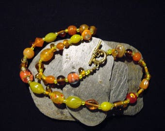 Venetian/Murano/Art Deco Style Glass Lamp Work Beaded Necklace with Hook Clasp