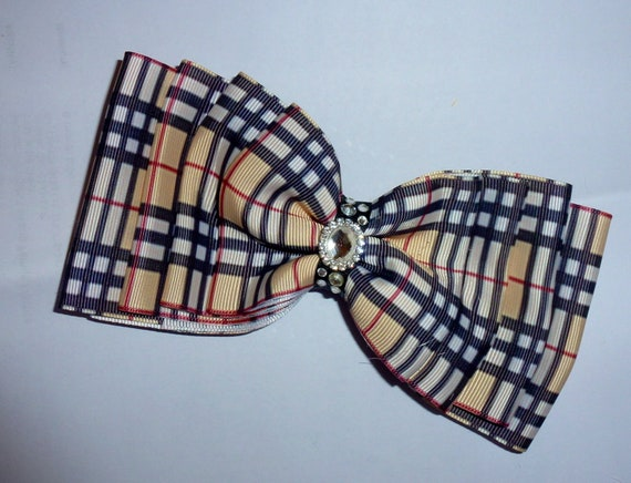 Becky Bows ~  Barrette ribbon Hand crafted oversized  BIG hair bow Women or Girls TAN berry PLAID