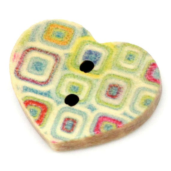 COLORFUL BBF205 - 2 WOODEN HEART BUTTONS