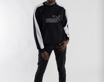 Vintage black white Puma sweatshirt / 90s Puma sports sweater / Vintage men's Puma sweater / Sportswear / Puma logo women's sweater / Size S