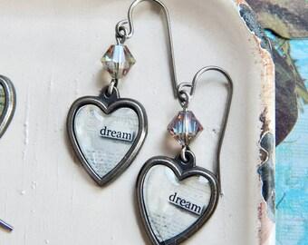 Dream earrings - Inspirational earrings - crystal - charm earrings