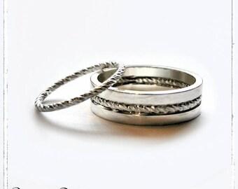 Duo d'alliances facettées argent massif 925 - 1.5mm et 6mm - Bijoux alliances mariage pacse