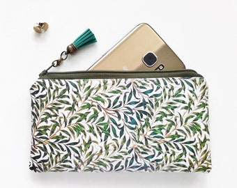 Phone sleeve,phone pouch,phone wallet,phone storage,leaves fabric,oilcloth fabric,folk Android sleeve,iPhone sleeve.