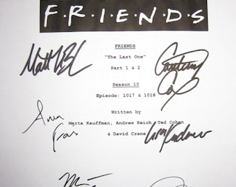 Friends Cast Signed Finale TV Script Screenplay Autographs Jennifer Aniston Courteney Cox Lisa Kudrow Matt LeBlanc Matthew Perry Paul Rudd