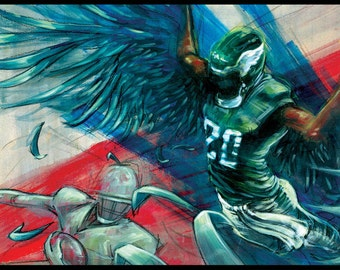 Philadelphia Eagles Art Print - Brian Dawkins - Eagles Poster Print - Wall Art - Wall Decor - Philadelphia Art
