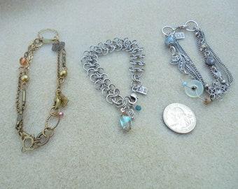 Vintage Three Bracelet Lot - Desert Heart - Link or Chain Bracelets - Deb Sparshott or Sparsbott