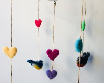 Birds of Love Needle Felted Mobile