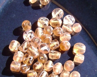 Beautiful Orange and White Beads in Different Shapes and Sizes
