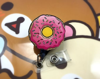 Pink Sprinkle Donut Breakfast Yummy Kawaii Cute Badge Reel Retractable Work ID Holder Nurse CNA CPhT RN Technician Slide Belt Pocket Clip