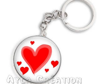 Cabochons glass 25mm 11 love keychain