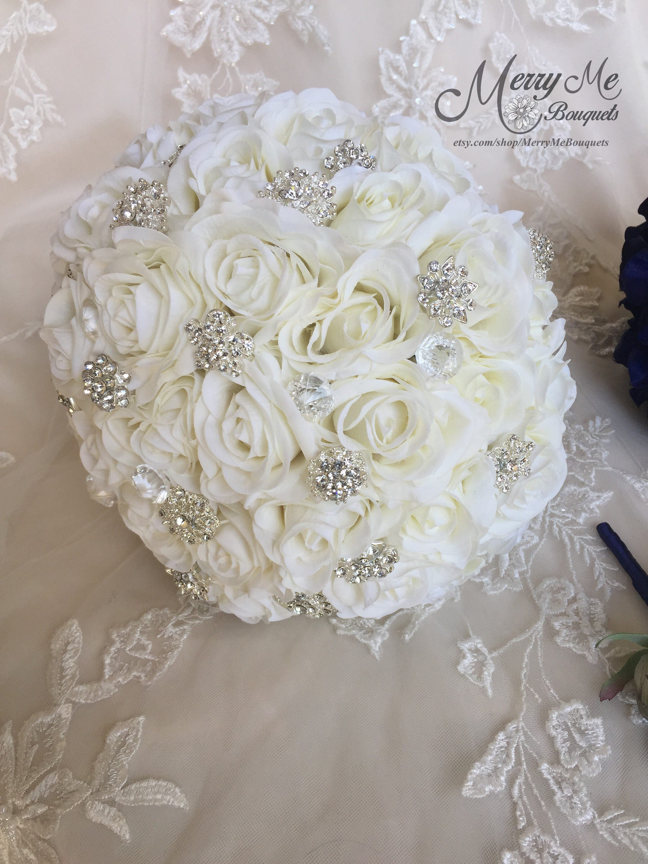 Off White Brooch Bouquet Rose Brooch Bouquet Off White