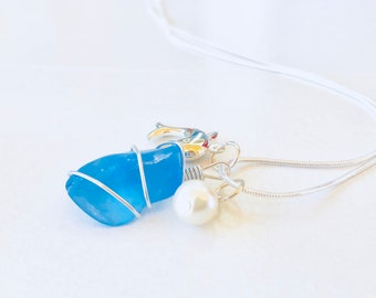 Sea glass necklace - blue seaglass necklace with charms - interchangeable - 3 in 1 necklace