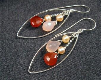 Chalcedony Pearl Earrings- Silver Hoops, Pink & Red Gemstones, Blush Pearls