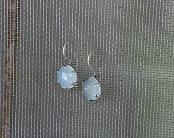 SilverEarrings ,Aqua Chalcy  Earrings, Handmade Earrings, 925 Silver Earrings, Birthstone Earrings,Valentine's Day Gift,