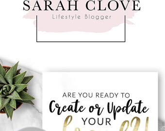 129 - Sarah Clove,  LOGO Premade Logo Design, Branding, Blog Header, Blog Title, Business, Boutique, Custom, Modern, Fashion, Gold