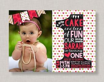 Valentine First Birthday Invitation,Valentine 1st Birthday Invitation,Valentine Birthday Invite,Valentine Invite,Heart Birthday Invitation