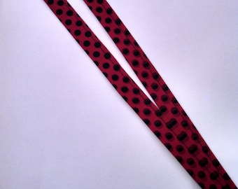 Red with Black Polka Dot Lanyard