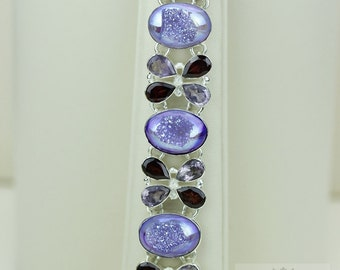 Sweet Deal! LAVENDER Titanium Window DRUSY DRUZY 925 Solid Sterling Silver Bracelet & Free Worldwide Shipping B733