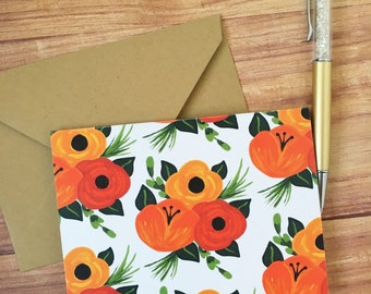 Fall floral note card