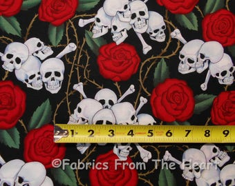 Skulls Bones Red Roses w Thorns On Black BY YARDS Alexander Henry Cotton Fabric 1595A