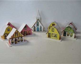 Vintage lighted plastic Putz Alpine village houses and church, pink and yellow, Holiday decor, Christmas decoration, gift idea