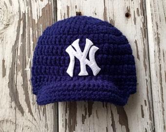 Baby Boy Navy New York Yankees Inspired Baseball Hat / Newborn Photo Prop / Sitter Session Prop / Sizes Newborn - 9 Months **MADE TO ORDER**