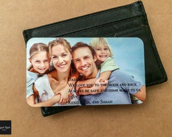 Custom Wallet Insert Card, Father's Day Gift for Dad, Military Deployment Gift, Anniversary Gift for Him, Metal Picture Card for Wallet