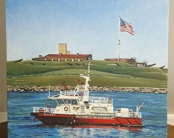 """Archival 14"""" x 14"""" Giclee on Watercolor Print of Original Painting """"The John R. Frazier"""" Baltimore City Fire Boat"""