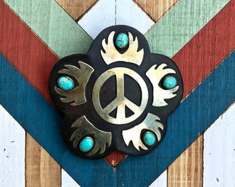 Vintage 1970s Mexican brass and five-stone turquoise peace sign flower belt buckle