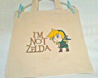 bag- gamer bag- im not zelda- geek bag- link bag- legend of zelda- legend of link- geek- gamer